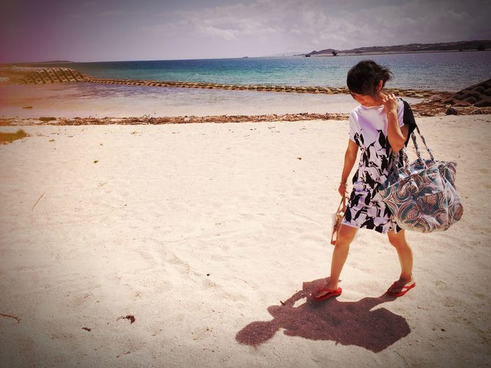 Beach Sea Sand Full Length Shore Nature Walking Beauty In Nature W/natsu Vacations Scenics Snap Snappeople Snapshots Of Life Summer Photooftheday 세계 浜比嘉島 Hamahiga Okinawa 沖縄 Mix Yourself A Good Time The Week On EyeEm Trip Photo Tranquil Scene