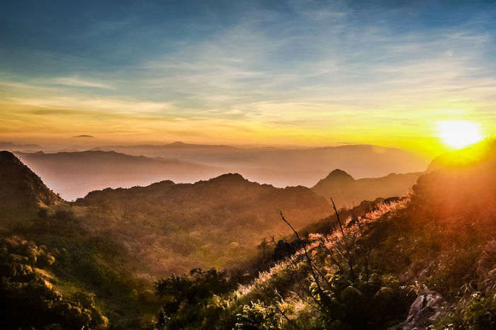 Beauty In Nature Chiang Dao Day Doi Chiangdao Landscape Mountain Mountain Range Nature No People Outdoors Scenics Sky Sun Sunlight Sunset Tranquil Scene Tranquility