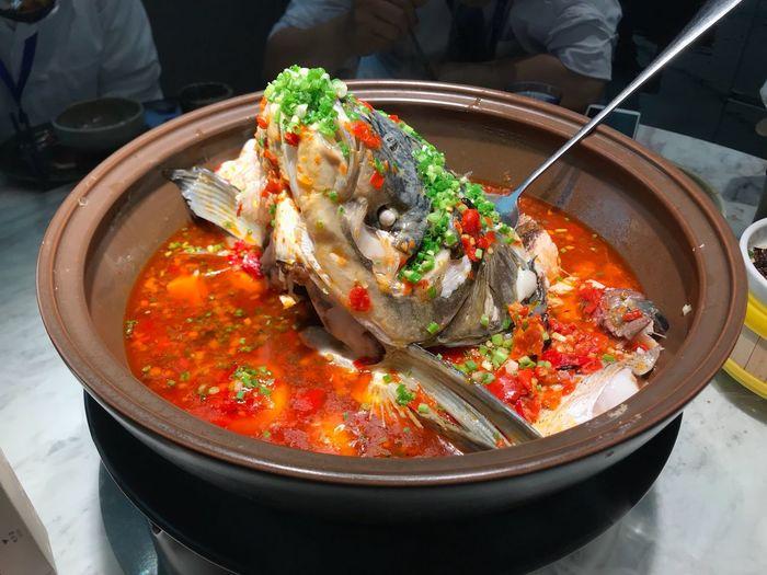 剁椒鱼头 Food Food And Drink Freshness One Person Healthy Eating Kitchen Utensil High Angle View
