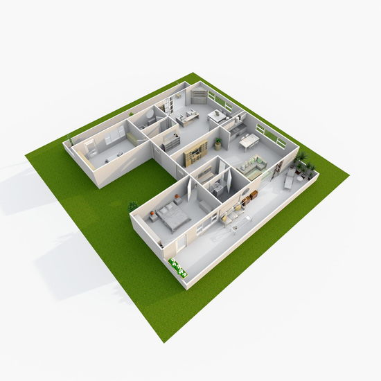 3d rendering perspective view of furnished home apartment 3D Apartment Bathroom Bedroom Business Finance And Industry Close-up Flat Furnished Green Color Home Home Sweet Home House Kitchen Living No People Rendering Room Studio Shot White Background