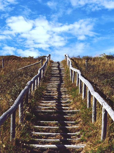 Cloud - Sky Sky Direction The Way Forward Nature Day Railing Diminishing Perspective Outdoors Land Sunlight No People