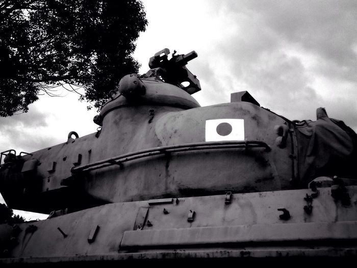 Jsdf Japanarmy Type61 Tank Low Angle View Statue Sky Cloud - Sky Sculpture Outdoors Day No People
