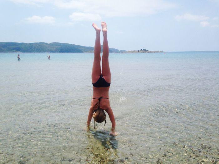 Greece Beach View Girl Vacation Bikini Upside Down Tanning Summer Sun