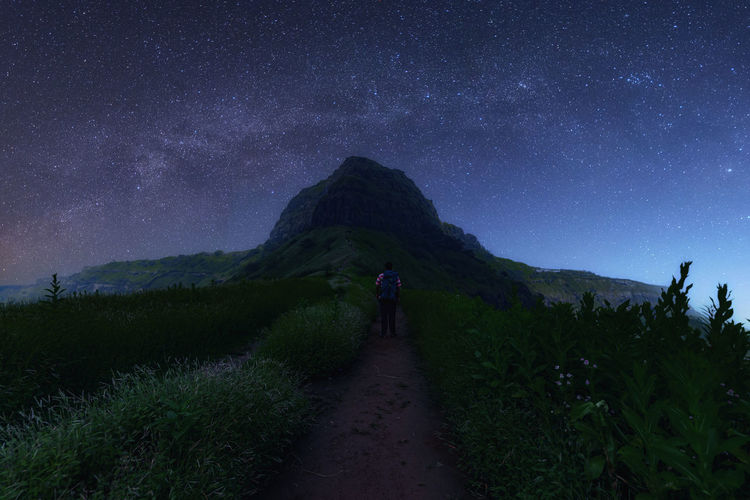 Rear view of man on field against night sky