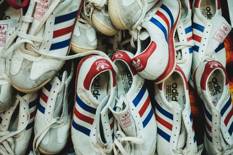 Saw this bunch of classics on one of the shops in Chatuchak Weekend Market in Bangkok. For the past 6 years of my stay here, I can say that Thai people love collecting vintage stuffs from shoes, watches, motorbikes, cars, furniture, etc. and it's really great to see old stuffs coming back to life. Adidas Adidasoriginals Classic Eyeem Philippines Fujifilm FUJIFILM X-T1 Out Of The Box Sneakerhead  Sneakers Vintage Vintage Fashion