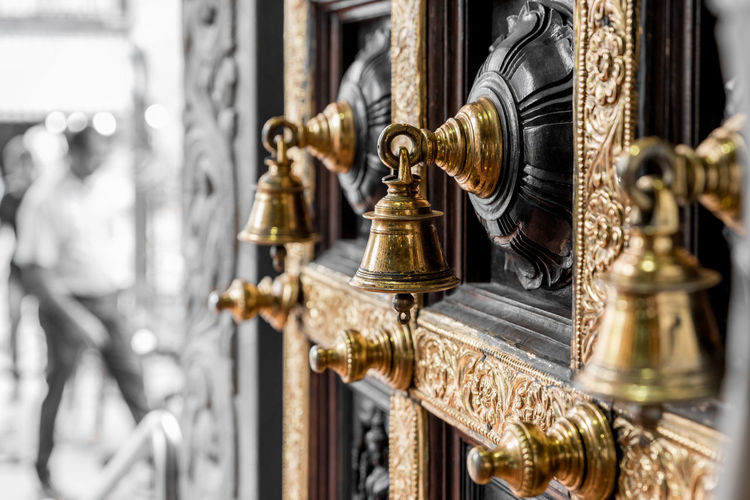 Door Bell Bells Close-up Day Door Gold Colored Indoors  Metal Music Musical Instrument No People Ornate Selective Focus