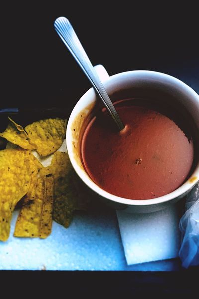 Soup Tomato Soup Bowl Of Soup Chips Corn Chips Dinner Food And Drink Freshness No People Refreshment Ready-to-eat Bowl Close-up Food Drink Indoors  Healthy Eating Day Food Photography Still Life you are what you shoot.