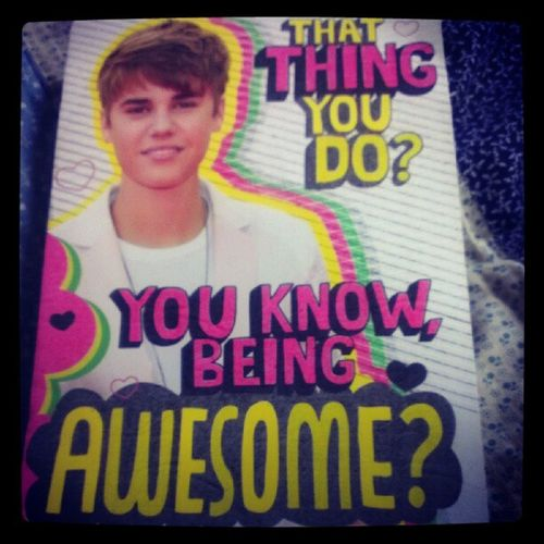 Photoadayaugust Day10 I Smile every time I look at this card. Lori knows me too well. :D @lov3red Jbiebs justinbieber birthdaycard HLM weshouldbeonglee