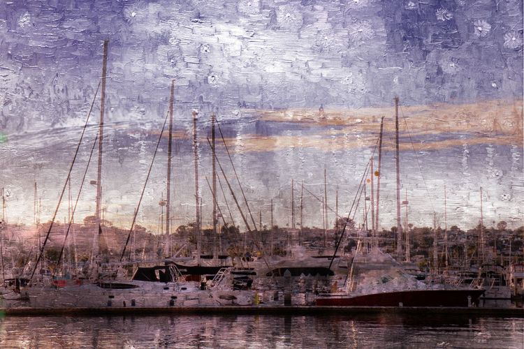 On the Water Yacht Boat Chris Hoar Dock Harbor Impressionism Mast Mode Of Transport Moored Nautical Vessel No People Outdoors Sailboat Sailing Sky Transportation Travel Water