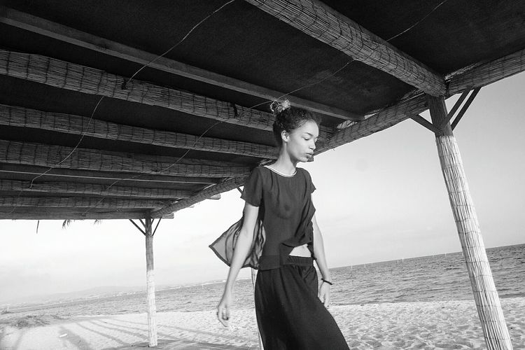 Blackandwhite Monochrome Woman Girl Walking Around Fashion Seaside Photoshoot Photovogue The Fashionist - 2015 EyeEm Awards Monochrome Photography
