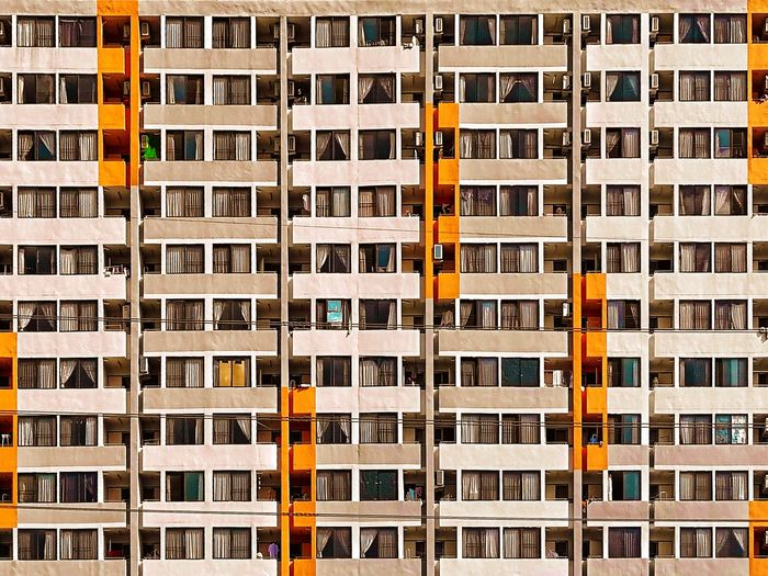 Neighborhood.... Windows Thailand Chiang Mai | Thailand Travel Holiday Vacations Community Residential Building Minimalism The Graphic City Orange Color Full Frame Architecture Backgrounds Day No People Outdoors Stories From The City Adventures In The City The Architect - 2018 EyeEm Awards #urbanana: The Urban Playground My Best Photo
