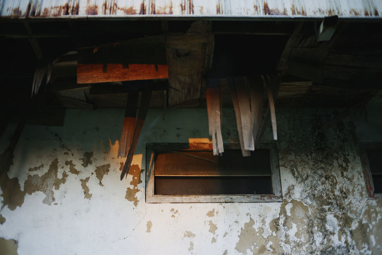 Wood - Material No People Architecture Old Day Built Structure Abandoned Building Absence Nature Damaged Weathered Roof Bad Condition Wood Roof Beam Ceiling Window