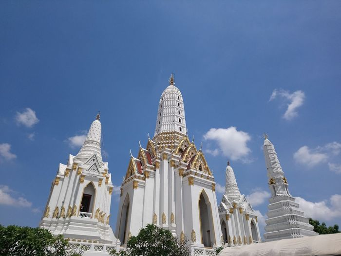 Low angle view of temple building against sky