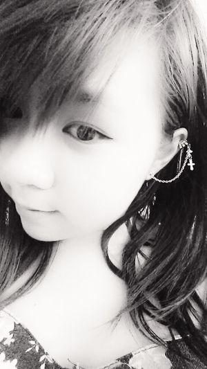 (: Black And White Asian  Girl Ear Piercing