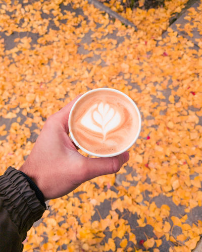 The Mobile Photographer - 2019 EyeEm Awards Human Hand Hand Human Body Part Refreshment Holding Coffee Cup Drink One Person Coffee Food And Drink Coffee - Drink Autumn Mug Frothy Drink Cup Real People Lifestyles Froth Art Leaf Plant Part Hot Drink Change Finger Latte Floral Pattern
