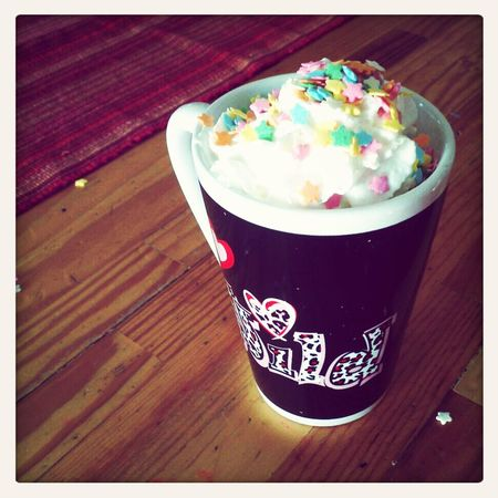 "Celebrating the first day of ""Spring"" with a nice cup of hot cocoa. Just seems wrong doesn't it?"