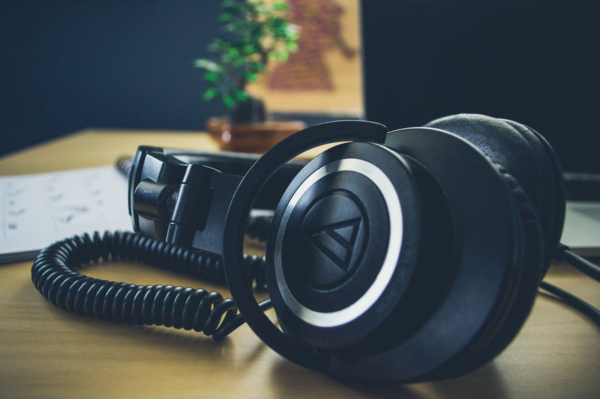 Headphones Audio Music Sound Accessory Bass Black Cable Camera - Photographic Equipment Close-up Digital Earphone Focus On Foreground Funky Gadget Gadgets Headphone Headset Indoors  Listen Microphone No People Old-fashioned Photography Themes Portable Table