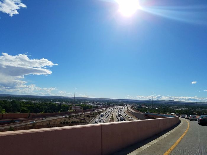 Overpass View Highways&Freeways The Big I I-40 I-25 Transportation Rush Hour Traffic Commuter Albuquerque New Mexico Sunlight Rays Of Light Day Cloud - Sky Blue Scenics Beauty In Nature Samsung Galaxy S7 Edge The Architect - 2017 EyeEm Awards