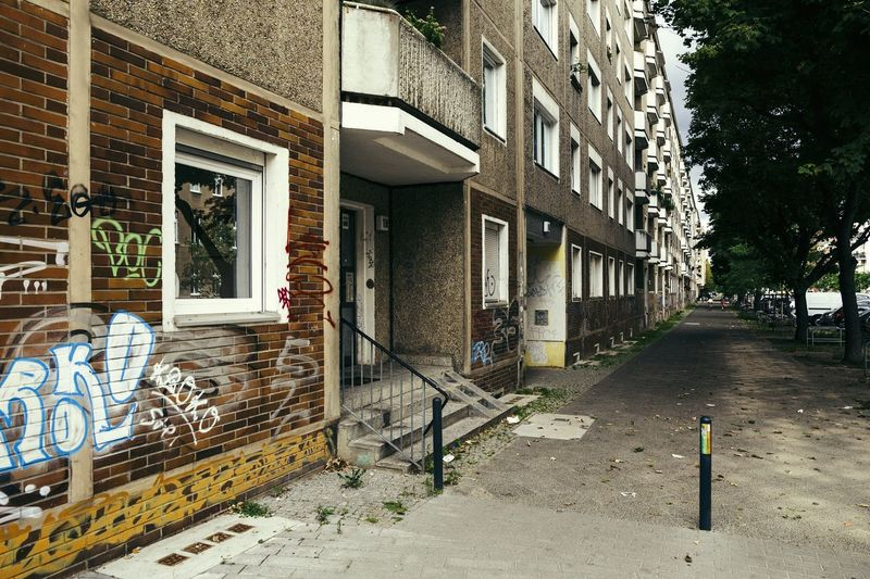 Prefabricated apartments built in GDR at Berlin Friedrichshain Berlin Friedrichshain Apartment Apartment Buildings Prefabricated Building Gdrbuilding Ostalgie Nostalgia Street Streetphotography