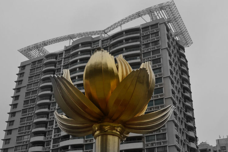 Architectural Feature Architecture Black & White Built Structure China Clear Sky Color Splash Gold Lotus Flower Low Angle View Macau Traveling