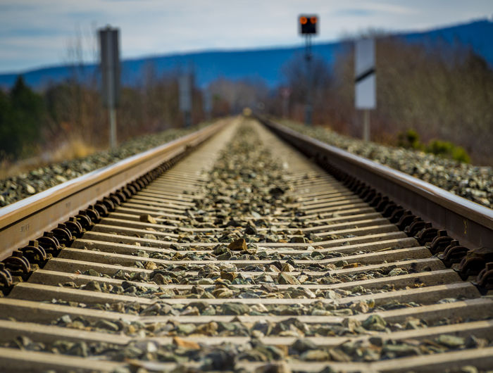 Close-up of railroad track against sky