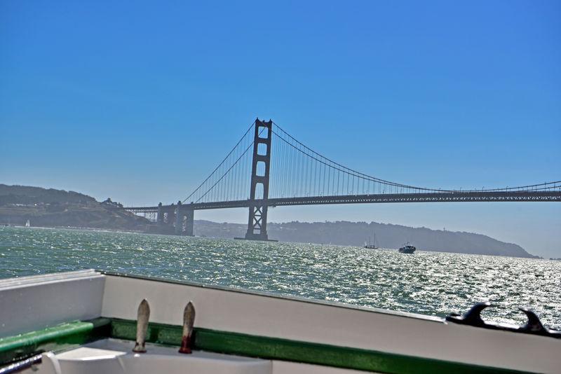 Sailing The Bay 16 Aboard The Alma Sailing Golden Gate Bridge Eastern Span Deck Side San Francisco Bay Eastbay Hills Clear Blue Sky Perfect Day For Sailing Nautical Vessels Tugboat Sailboats Bridge Tower Bridge Span Bridge Architecture
