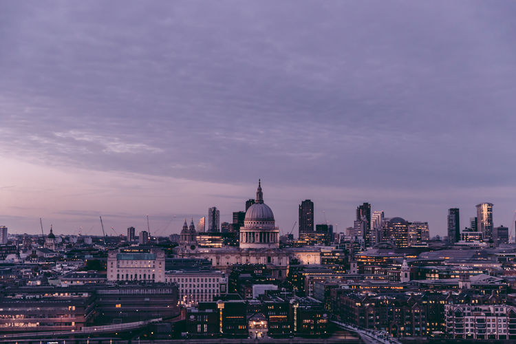 Aerial view of London skyline at sunset London England Uk United Kingdom Architecture Modern City Building Exterior Sky Cityscape Building Cloud - Sky Outdoors Travel St Paul's Cathedral Cityscape Sunset Copy Space Aerial View Elevated View