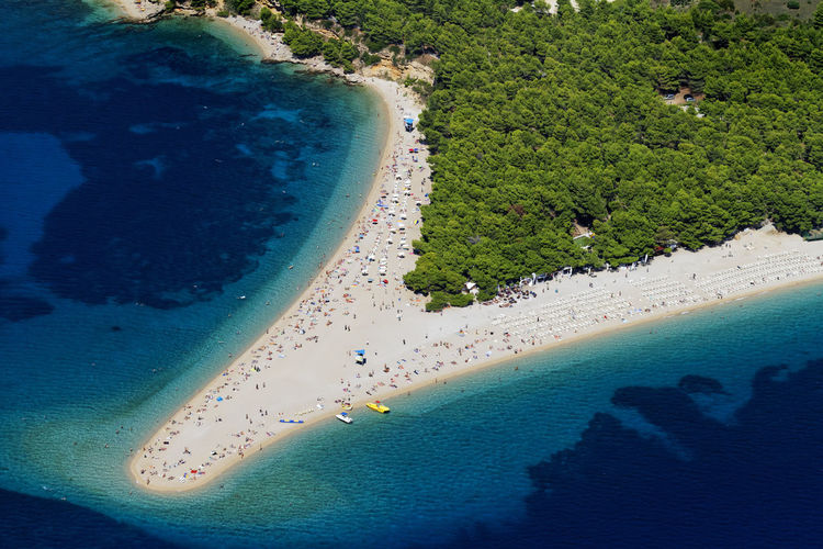 Aerial view of zlatni rat pebble beach on brac island