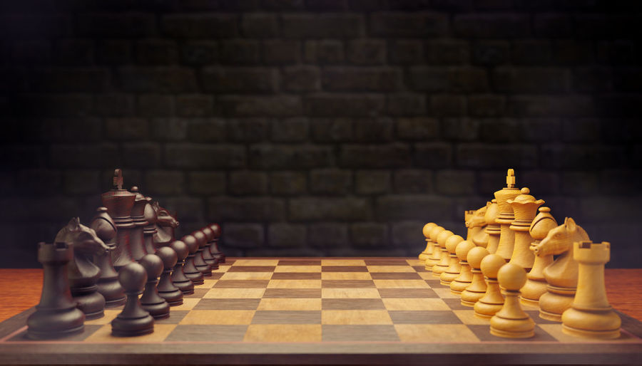Full frame shot of chess pieces on the wall