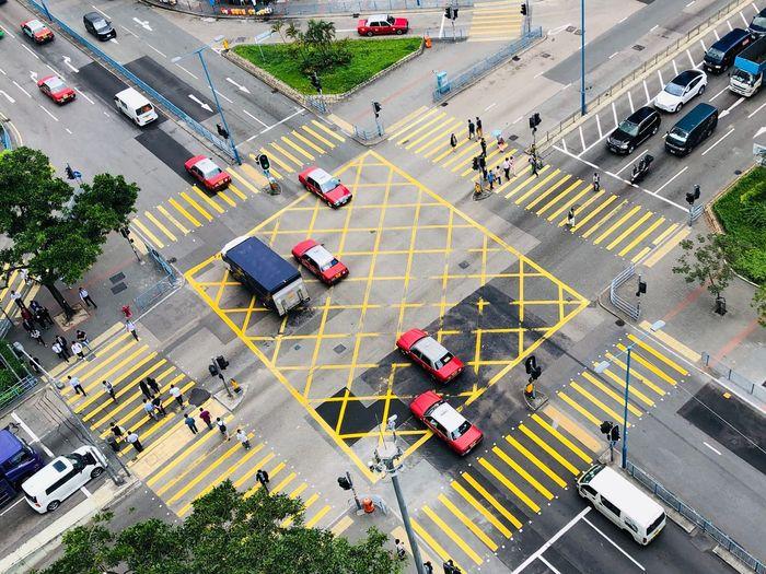 Hustle and bustle Crossroads Taxi Hong Kong Street High Angle View Car Mode Of Transportation Crosswalk Zebra Crossing Road
