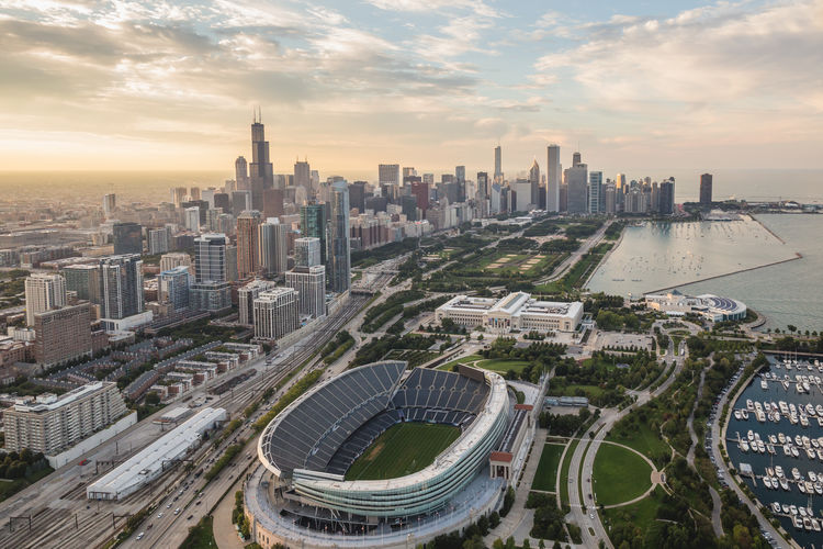 Chicago sunset from the heli City Architecture Cityscape No People Multiple Lane Highway Urban Skyline Outdoors Road Building Building Exterior Stadium Chicago Chicago Architecture Chicago Skyline Sunset