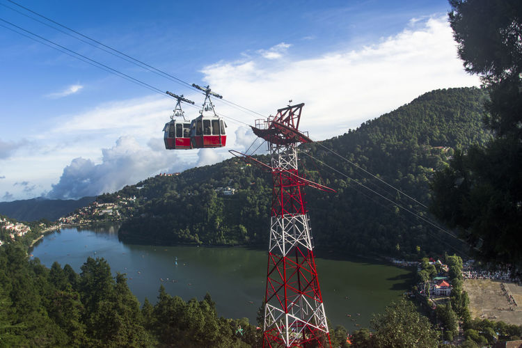 Overhead cable car over lake against sky