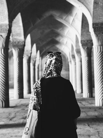 City of Love EyeEmNewHere EyeEm Best Shots Blackandwhite Mosque One Person Architecture Rear View Built Structure Real People Lifestyles Adult Building Exterior