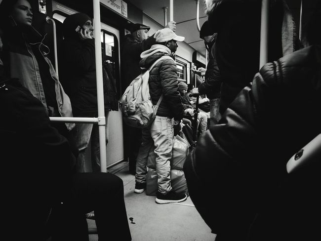 A man who's going to somewhere. Maybe in a laundry. Only Men Adults Only Adult People Blackandwhitephotography Metro Blackandwhite Metro Photo Travel Streetphotography Black Men Indoors  Day Milano Real People