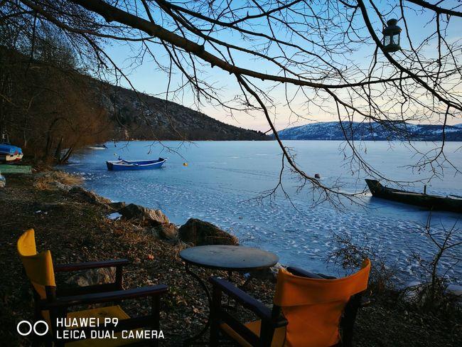 Blu small boat,Frozen lake, No People Outdoors WinderPics Icewatch