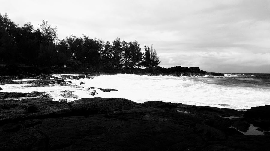 Specialized Monochrome Black And White Black Sand Beach Seaside Hawaii Beach Waves Waves Crashing Beauty In Nature Pacific Ocean Sea Rough Waters Lava Rock Big Island Hawaii Aloha No People Outdoors Photos From My Travels Hawaii Life Beach Travel Namaste ❤ Clouds And Sky Sky And Clouds