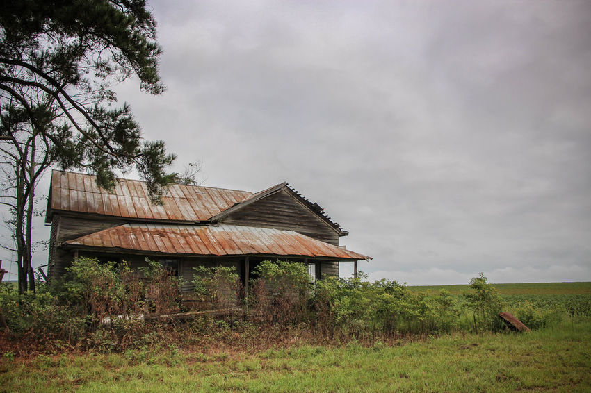 Abandoned Cloud Cloud - Sky Dark Sky Decaying Deterioration Landscape Old Overcast Run-down Rust Sky Tin Roof
