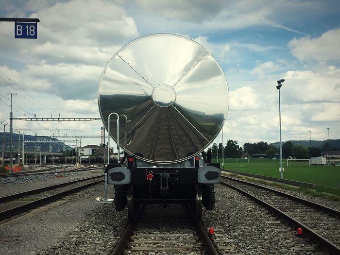 Railroad Track Train Station Cloud - Sky No People Outdoors Sky Reflections Rail Cornaux Gare Station Switzerland