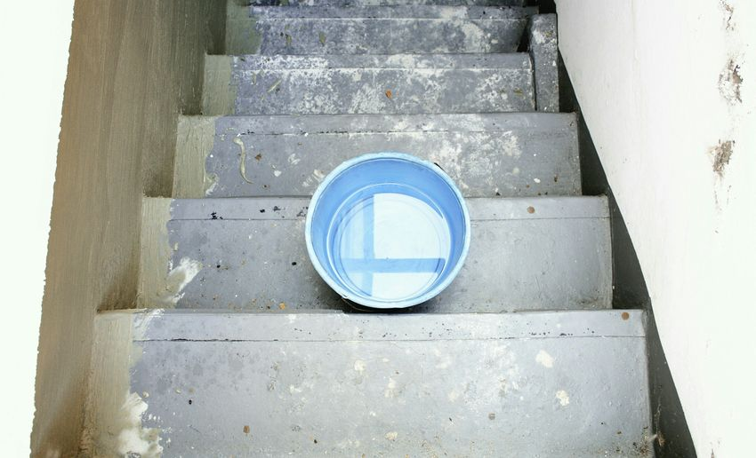 DIY 🚧🔨. Home Site Stairs Cellar Architecture Geometric Shapes Structure Circle Bucket Simplicity Minimalism Minimalobsession Blue Color Painting Reflection Taking Photos Shootermag EyeEm Best Shots