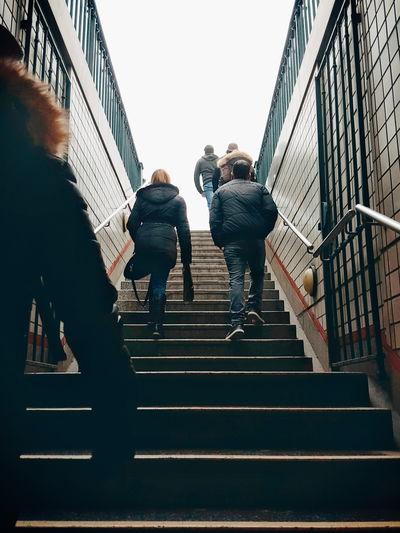 Woman walking on steps