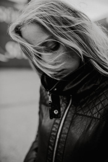 Autumn Darkness The Week On EyeEm Thinking Zipper Blackandwhite Blackandwhite Portrait Blackandwhitephotography Blond Hair Close-up Cold Down Fall Flying Hair Leather Jacket Lifestyles Moody One Person Outdoor Outdoors Real People Walking Wind Women Young Adult International Women's Day 2019