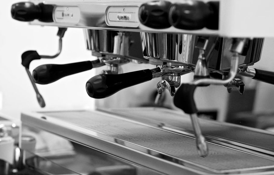 Brew Caffeine Coffee Espresso Latte Machine Basket Black And White Brewing Business End Cafe Craft Espresso Maker Group Group Head High Contrast Italian Machinery Portafilter Professional Specialty Specialty Coffee Stainless Steel