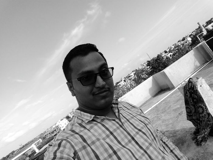 That's Me MoTo G4 Sky Selfie ✌ Spects Black & White Trees Blue Sky Clear Sky Terrace Pipes Sintex Pillars Bedsheet Hunk OO Mission Fine Art Photography Showcase July Monochrome Photography Welcome To Black