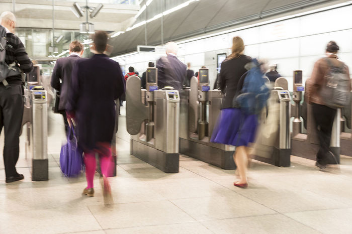 Passengers passing through automatic ticket barriers at underground station, motion blur Adult Adults Only Blur Blurred Motion Businesspeople Buying Commuters Crowd Crowded People Day Indoors  Mature Adult Men Motion Motion Blur Office Worker People Station Subway Subway People Subway Station Transportation Urgency Walking Women