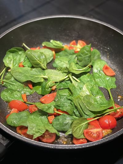 High angle view of vegetables in pan