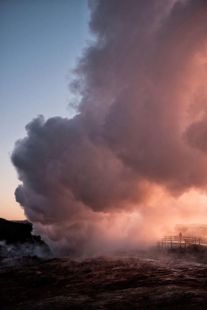 Volcano erupting in sea