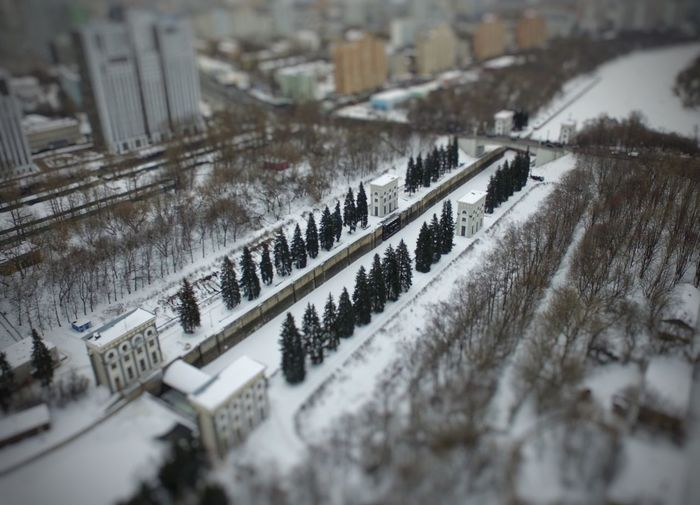 My toy city Transportation Snow Winter High Angle View Outdoors Winter View Moscow Aerial Shot Aerial View Water Gate City View  Looking Down From Above  Architecture Landscape Day No People Tree Building Exterior Nature City Architecture Tilt-shift Beauty In Nature Flying High Flying High