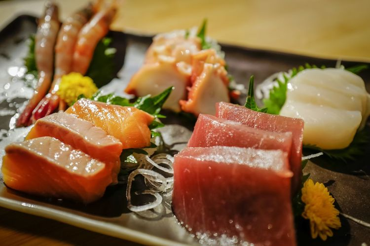 Close-up of sashimi served in plate