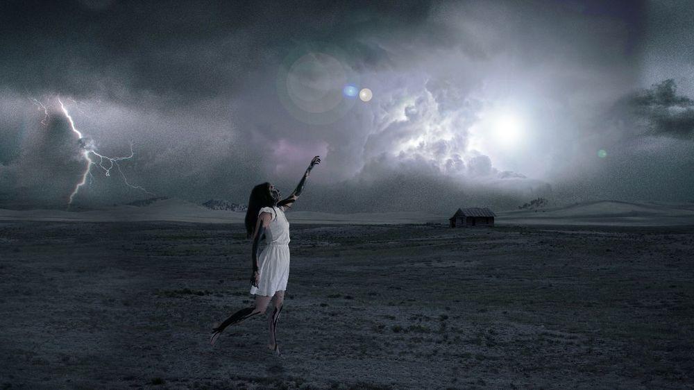 We try. Fools Cloud - Sky Night Sky Arms Raised Storm Cloud Outdoors Standing Sad Black Paint Messy Hurt Pecado God Light