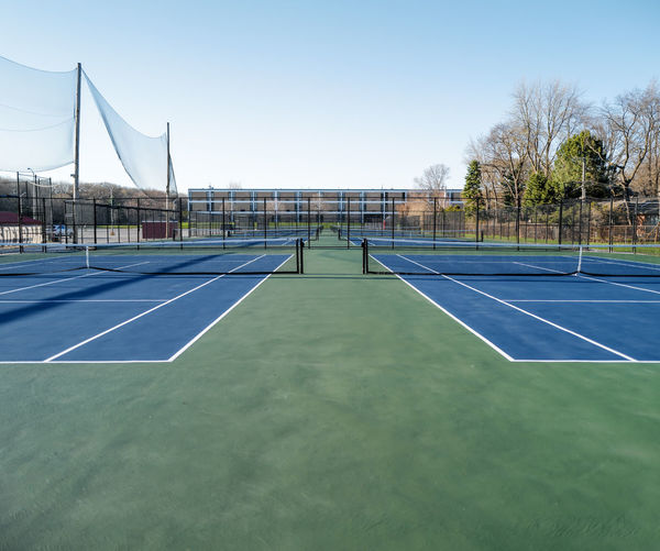 View of empty tennis courts